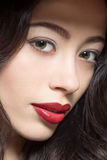 Portrait of fashion lady with dark red lips Royalty Free Stock Photography