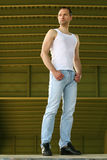 Portrait of fashion man in undershirt Royalty Free Stock Images