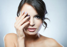 Portrait of fashion model with beauty bright make-up Stock Images