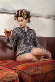 Portrait of fashion model with a cocktail Stock Photos