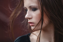 Portrait of Fashion Model Girl on the Industrial Background. Royalty Free Stock Image