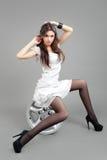 Portrait fashion model in gray dress Royalty Free Stock Photo