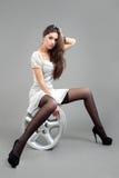 Portrait fashion model in gray dress Stock Photography