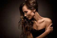 Portrait of fashion model in photo studio Royalty Free Stock Photography