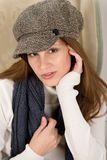 Portrait of fashion model wearing cap Royalty Free Stock Images
