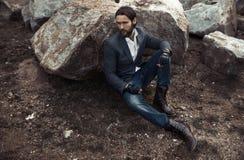 Portrait of  fashion stylish man model Stock Image