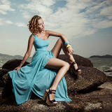 Portrait Of Fashion Woman In Blue Dress Outdoor Royalty Free Stock Images