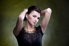 Portrait of fashion woman in dress stock photo