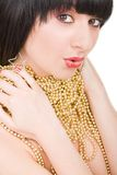 Portrait of fashion woman with gold necklace Royalty Free Stock Image