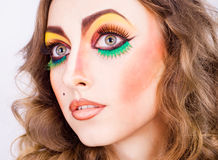 Portrait of fashion woman model with beauty bright make-up Royalty Free Stock Photos