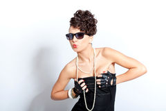 Portrait of fashion woman with sunglasses Royalty Free Stock Photo