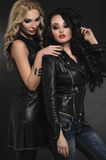 Portrait of Fashion women models in leather clothing Royalty Free Stock Photography