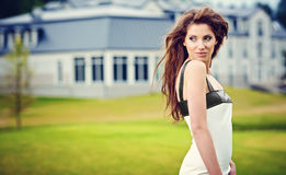 Portrait of fashion  young woman .Outdoor Royalty Free Stock Photos