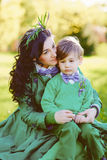 Portrait of fashionable boy and his mother Royalty Free Stock Photo