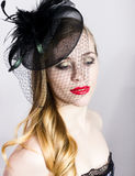 Portrait of a fashionable Elegant beautiful girl with red lips and a veil Stock Photos