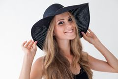 Portrait of fashionable girl in hat with large fields stock images