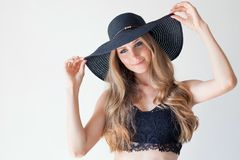 Portrait of fashionable girl in hat with large fields stock photo