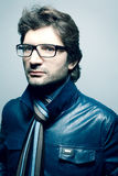 Portrait of fashionable handsome man in blue jacket Royalty Free Stock Image