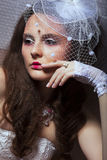 Portrait of Fashionable Lady in White Retro Veil - Romance Stock Images