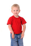 Portrait of fashionable little boy in red shirt Royalty Free Stock Images