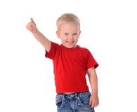 Portrait of fashionable little boy in red shirt Royalty Free Stock Image