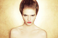 Portrait of fashionable model with retro hairdo Royalty Free Stock Photo