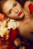 Portrait of a fashionable red-haired model in rose petals. Portrait of a fashionable red-haired (ginger) model with sexy red lips lying on rose petals background Stock Photo