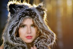 Portrait of fashionable sexy blonde woman in fur hat. Portrait fashionable sexy blonde woman in fur hat Royalty Free Stock Photos