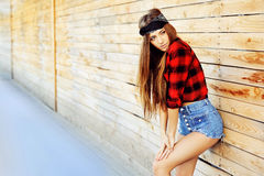 Portrait of fashionable stylish young woman.  royalty free stock photography