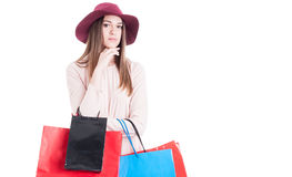 Portrait of fashionable woman with colorful shopping bags Stock Images