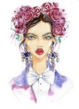 Portrait of a fashionable woman. royalty free illustration