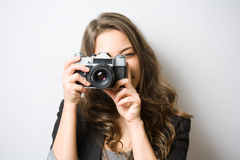 Cute young photographer. Royalty Free Stock Images