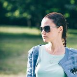 Portrait of fashionable young woman in sunglasses. royalty free stock photo
