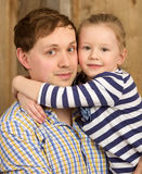 Portrait of father and beautiful little daughter Stock Image