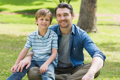 Portrait of a father and boy at park Royalty Free Stock Image