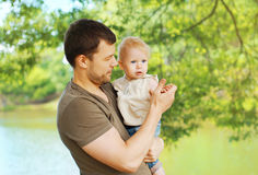 Portrait father and child walks Stock Photos