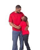Portrait of a father and his school aged son royalty free stock photo
