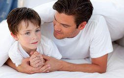 Portrait of a father and his son together Royalty Free Stock Image
