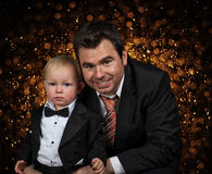Portrait of father and little boy son Stock Photo