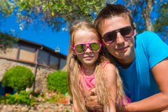 Portrait of father and little daughter at tropical Stock Photography