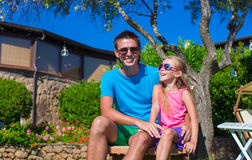 Portrait of father and little daughter at tropical Royalty Free Stock Photos