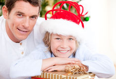 Portrait of father and son at christmas Stock Image