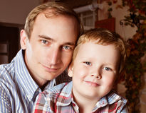 Portrait father and son Stock Photos