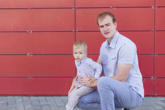Portrait of father and son on the nature Stock Photo