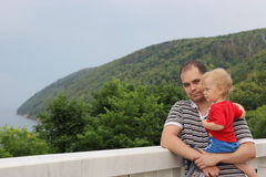 Portrait of a father and a son outdoors Royalty Free Stock Images