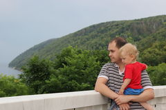 Portrait of a father and a son outdoors Royalty Free Stock Photo