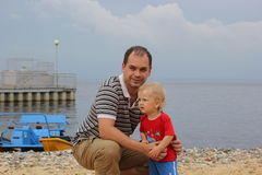 Portrait of a father and a son outdoors Royalty Free Stock Photography