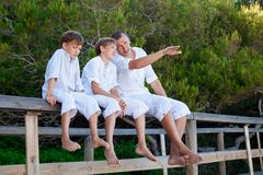 Portrait of father and three sons Royalty Free Stock Images