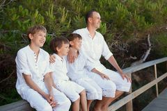 Portrait of father and three sons Royalty Free Stock Photos