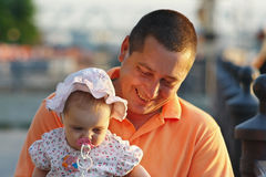 Portrait of father and young daughter in panama Royalty Free Stock Images